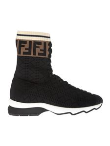 Fendi - Stretch knitted black sneakers