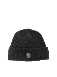 Stone Island - Anthracite-colored ribbed wool beanie