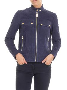 Michael Kors - Blue suede jacket with logo details