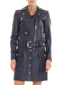 Michael Kors - Blue leather coat with logo details