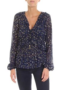 Michael Kors - Floral printed blue laminated blouse