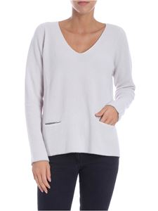 Le Tricot Perugia - Pearl grey V-neck pullover with pockets