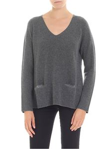 Le Tricot Perugia - Grey V-neck pullover with pockets