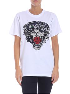 Parosh - White Tiger and glitter t-shirt