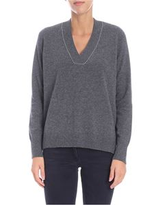 Le Tricot Perugia - Gray pullover with micro beads