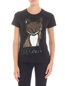 Parosh - Black t-shirt with fox sequins