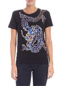 Parosh - Black t-shirt with sequins