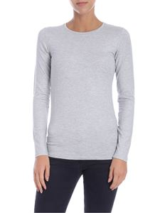 Majestic Filatures - Long-sleeved lamé grey T-shirt