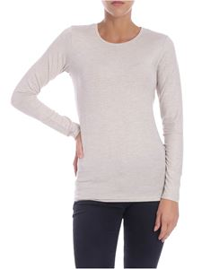 Majestic Filatures - Long-sleeved beige lamè t-shirt