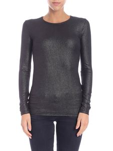 Majestic Filatures - Long-sleeved black lamè t-shirt