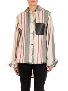 Loewe - Striped jacket with leather logo
