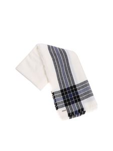 Woolrich - White scarf with black and blue pattern