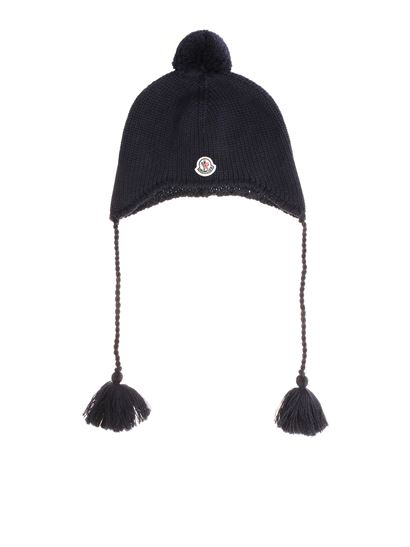 Moncler Enfant - Blue knitted beanie with logo
