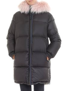 Mr&Mrs Italy - Reversible black down jacket with pink fur