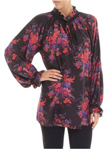McQ Alexander Mcqueen - Black blouse with multicolor floral pattern