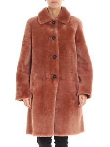 Desa 1972 - Peach-colored shearling long coat