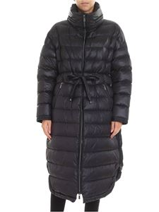 Diego M - Black quilted long down jacket