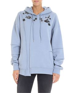 McQ Alexander Mcqueen - Light blue sweatshirt with rhinestones and sequins