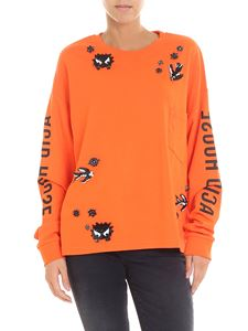 McQ Alexander Mcqueen - Orange sweatshirt with rhinestones and sequins