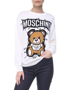 Moschino - Safety Pin Teddy Bear white virgin wool pullover