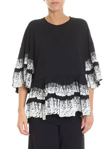 McQ Alexander Mcqueen - Black sweater with white velvet lace
