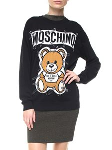 Moschino - Safety Pin Teddy Bear black virgin wool pullover