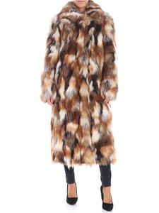 Dondup - White and brown eco-fur jacket