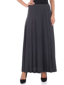Aspesi - Long pleated dark grey skirt