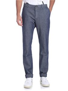 Nine in the morning - Blue diagonal fabric trousers