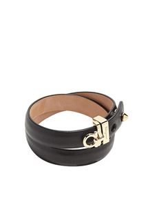 Salvatore Ferragamo - Gancini wraparound black leather bracelet