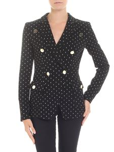 Emporio Armani - Black knitted jacket with lamé inserts