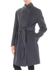 Emporio Armani - Anthracite color coat with button on the neckline