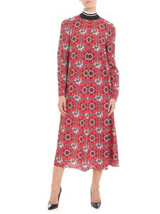 Red Valentino - Red flared dress with black and white print