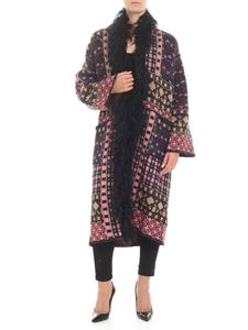 Etro - Multicolor cardigan with eco-fur insert