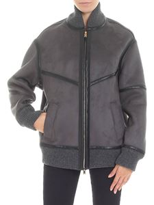 Stella McCartney - Bomber antracite in eco-pelle scamosciata