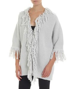 Dondup - Grey cardigan with fringed edges