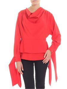 Dondup - Red sweater with draped neckline