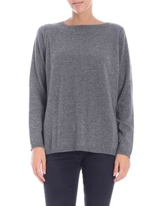 Kangra Cashmere - Grey pullover with boat neckline