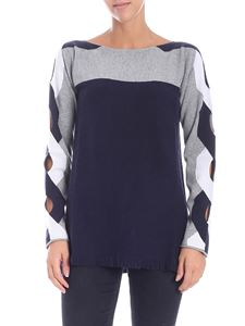 Kangra Cashmere - Blue and grey pullover with cut-out
