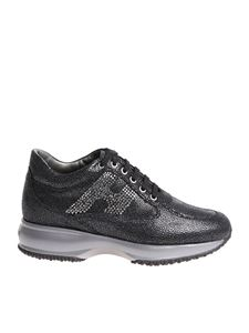 Hogan - Interactive black sneakers with rhinestones