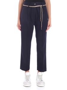 Pence - Ilda blue diagonal fabric trousers