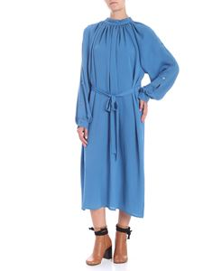Covert - Light blue midi dress with curled neckline