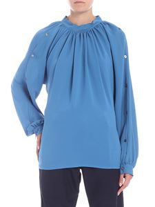 Covert - Light blue blouse with curled neckline