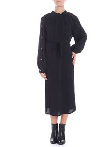Covert - Black midi dress with curled neckline