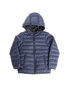 Emporio Armani - Reversible blue down jacket with logo