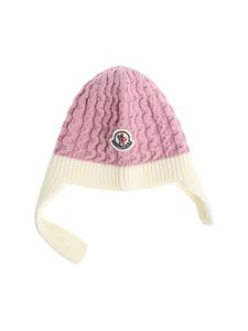 Moncler Jr - Pink knitted beanie with logo