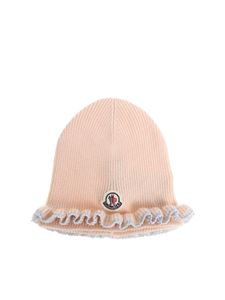 Moncler Jr - Pink beanie with logo
