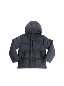 Stone Island Junior - Blue quilted down jacket with logo