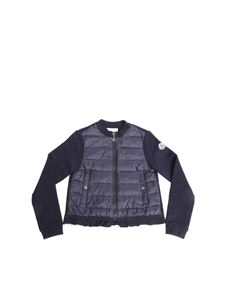 Moncler Jr - Blue cardigan with logo