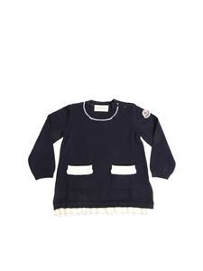 Moncler Jr - Blue knitted dress with logo